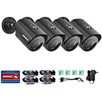 ANNKE 4 pack 1/4 Color CMOS 720P Security Indoor/Outdoor Bullet Camera, 720p HD Bullet Cameras with 66ft Night Vision, IP66 Dust and Waterproof Rating camera