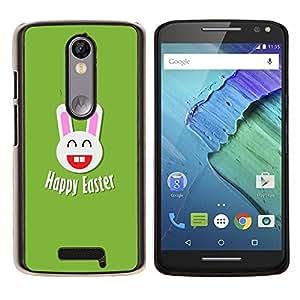 YiPhone /// Prima de resorte delgada de la cubierta del caso de Shell Armor - Felicidad Pascua Conejo blanco Orejas grandes - Motorola Moto X3 3rd Generation