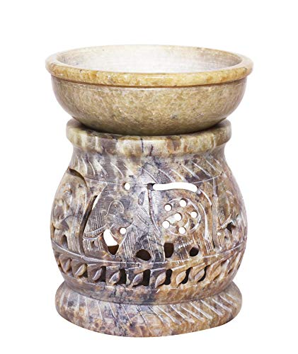 W Weblytech Hand Carved Essential Oil Burner Diffuser Made of Soapstone with Tea Light Holder Aromatherapy (Design6)
