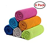 ZONLY [6 Pack] Cooling Towel, Ice Sports Towel,Microfiber Towel, Cool Towel for Instant Cooling,for Yoga, Travel, Golf, Gym,Camping, Fitness, Running, Workout & More Activities (35''x12'')
