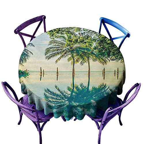 Indoor/Outdoor Round Tablecloth,Landscape Pool with Trees on The Surface No Filter Region Hot Spot Climate on Earth Theme,Party Decorations Table Cover Cloth,35 INCH,Green -