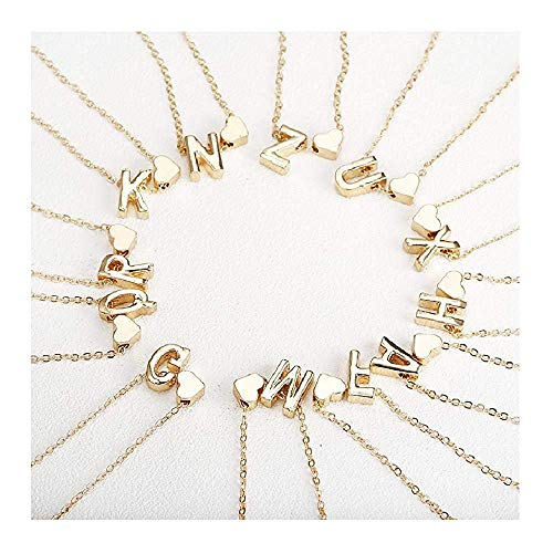Attrastores Fine Gold Letter Necklace Initial Name Necklaces Pendant for Women Girl Gift Jewelry,I
