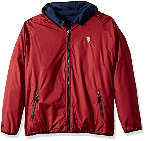 Red Reversible Fleece - U.S. Polo Assn. Men's Standard Reversible Poly Shell to Fleece Hooded Jacket, University Red 9029, M