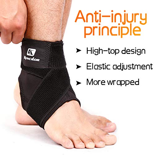 Kybcilor Ankle Brace, Adjustable Compression Ankle Sleeve for The Plantar Fasciitis, Achilles Tendon, Slight Sprain, Exercise (Black, S)