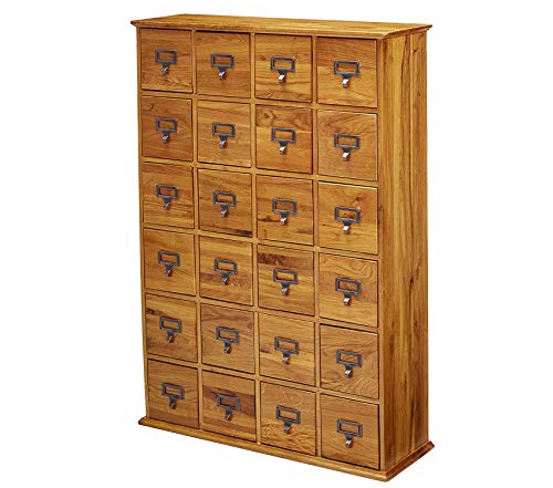 - Wood & Style Solid Oak Library Card File Media Cabinet 24 Drawers Oak Decor Comfy Living Furniture Deluxe Premium Collection