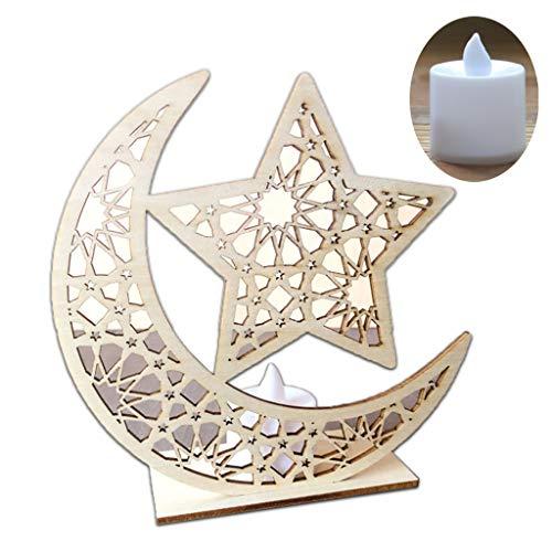 Wooden Ramadan, Eid Mubarak Moon Star Islam Hanging Pendant Plate with LED Light Ornament,Home Decor DIY Gift Confetti One Light Pendant