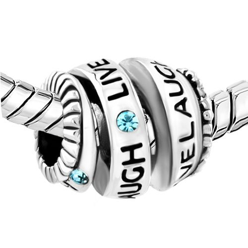 Uniqueen Jewellery Crystal Live Love Laugh Spiral Bead Sale fit Pandora Charms Bracelet eNHCYi5xe0