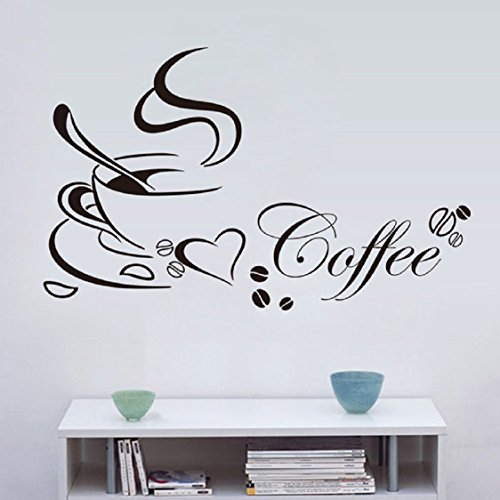 (Wall Stickers ,Ikevan PVC Decal Removable Kitchen Decor Coffee Cup Home Decals Vinyl Art Wall Sticker Home Decoration 65X40cm)