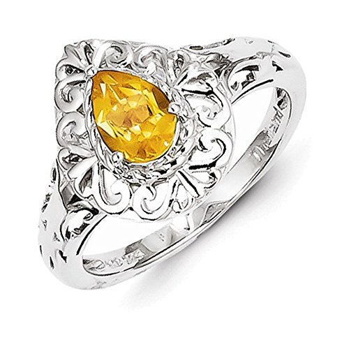 Sterling Silver Rhodium Plated Citrine Teardrop Ring Size 8