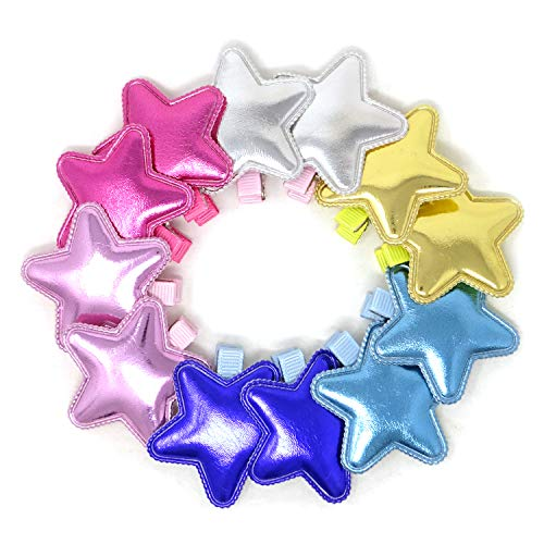 (Honbay 12PCS Shiny PU Leather Star Hair Clips Adorable Hairpins Hair Accessories for Baby Girls, Toddlers, Little Girls)