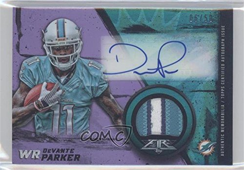 Devante Parker #6/50 Devante Parker (Football Card) 2015 Topps Fire - Rookie Autographed Patches - Purple #FRAP-DP (Parker Autographed Card)