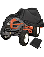 Lawn Mower Cover,Lawn Tractor Cover,Water and UV Resistant Storage Cover for Riding Lawnmower(Black)