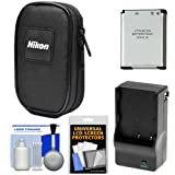 nikon 8000 camera - Nikon Coolpix Nylon Digital Camera Carrying Case with EN-EL19 Battery & Charger + Accessory Kit for S32, S33, S3700, S7000, A300, W100