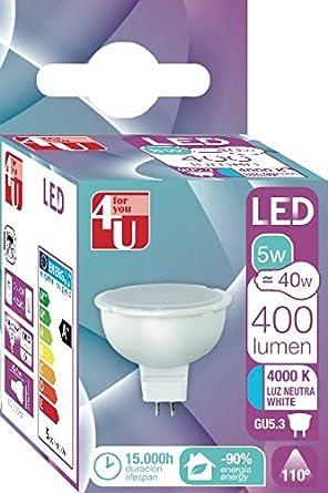 4U 400469 Bombilla LED G5.3, 12 W, Blanco 70 x 70: Amazon.es: Iluminación