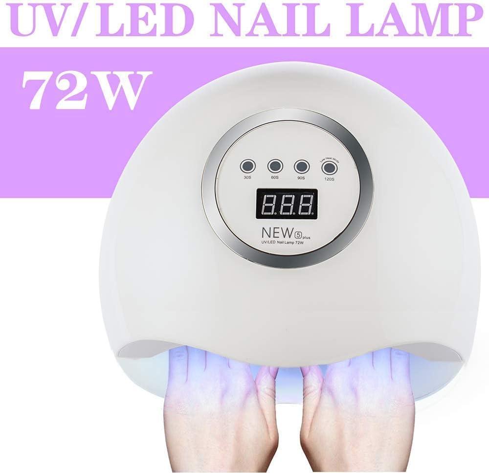 Secador de Uñas 72W lampara led uñas Lámpara LED UV Profesional Manicura/Pedicura Curado Luz Máquina,Para Manicura Shellac y Gel,con 4 Temporizadores,Sensor Automático,Pantalla LCD
