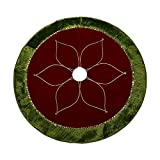 """Image of Valery Madelyn 48"""" Red and Green Tree Skirt with Traditional Christmas Flower Design"""