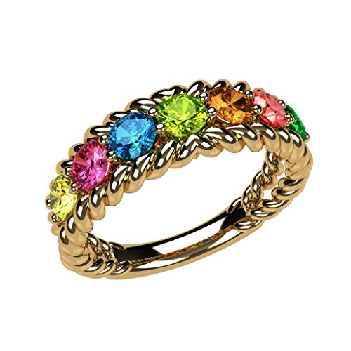 NANA Rope Mothers Ring 1 to 10 Simulated Birthstones - Sterling Silver -Yellow Plated-Size 7