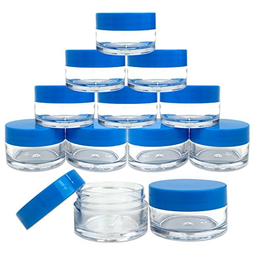 Beauticom 12 Pieces High Quality 20G/20ML Round Clear Jars with Blue Lids for Jams, Honey, Cooking Oils, Herbs and Spices - BPA ()