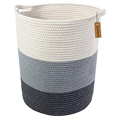 Goodpick 18.8  x 17.7  x 13.8  Extra Large Cotton Rope Basket - Woven Baskets - Cotton Thread Nursery Storage Bins - Laundry Basket - Baby Toy Storage-Home Storage Containers