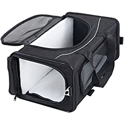 Petsfit Foldable Pet Travel Carrier, Airline Approved Dog Carrier, Black Pet Carrier, Two-Way Placement on Plane, 19 x 9 x 12 inch