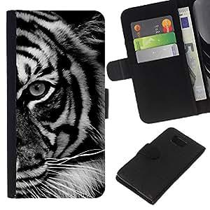 Stuss Case / Funda Carcasa PU de Cuero - Ojo Negro White Stripes ?frica - Samsung ALPHA G850