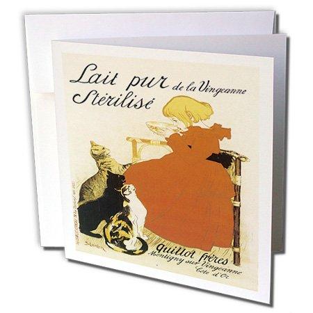 - 3dRose Vintage Lait Pur de la VingeanneSterilise French Advertising Poster Greeting Cards, Set of 6 (gc_129912_1)