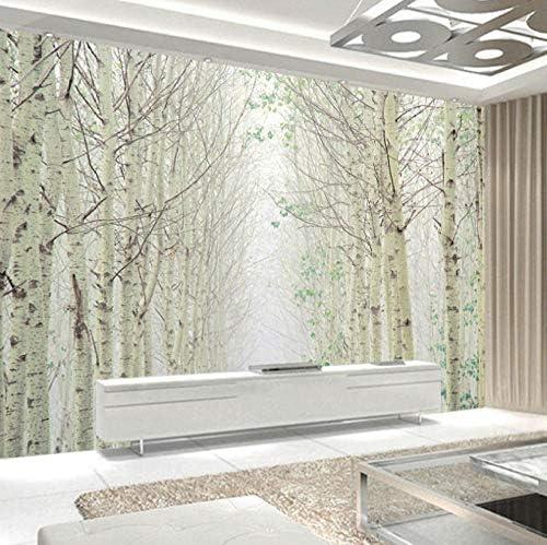 Lcymt カスタム3D写真の壁紙家の装飾シルバーバーチ風景不織布ベッドルーム壁壁画リビングルーム-120X100Cm