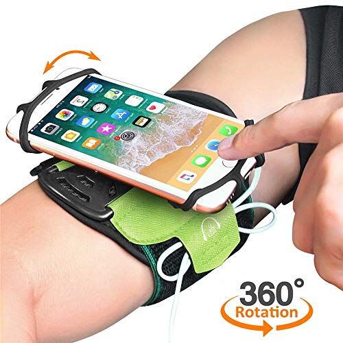 Quntion Running Armband for Cell Phones,360°Rotatable and Heat Dissipation Feature Sport Cell Phone Holder Armband for iPhone 5/5s/Se/6/6S/6 Plus/7/7 Plus/8/8 Plus/X/Xs/Xr(Green)