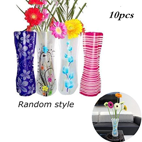 Eshylala 10 Pcs Plastic Vase Foldable flower vase decorative plastic vase for flowers, Random style