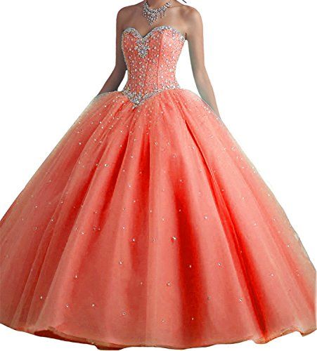 Women's Sweetheart Long Quinceanera Dresses Beaded Prom Dresses Ball Gown 651 Coral-24