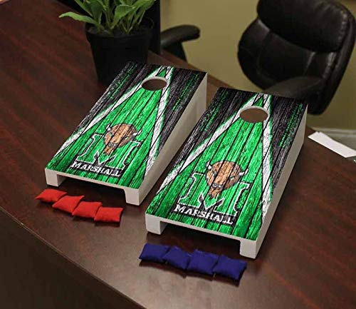 Victory Tailgate Marshall Thundering Herd Desktop Cornhole Game Set Weathered Triangle Version