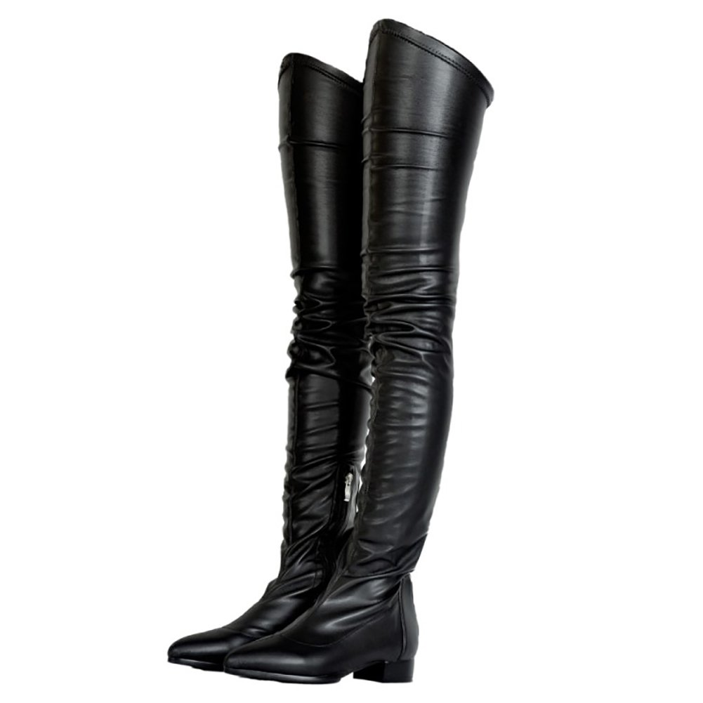 VOCOSI Damen Kniestiefel Niedriger Absatz Schuhe Wasserdicht Stiefel für Den Winter Herbst