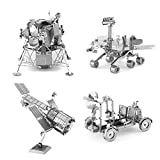Set of 4 Metal Earth 3D Laser Cut Models: Hubble Telescope - Apollo Lunar Rover - Apollo Lunar Module - Mars Rover