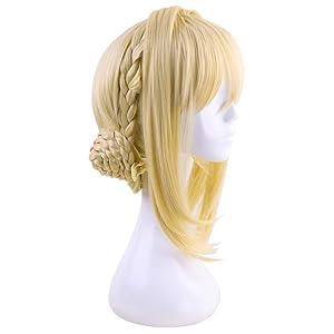 C-ZOFEK Violet Evergarden Cosplay Wig Braid Buns Golden Costume Wig (Golden)