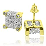 Diamond Earrings Real Gold Cube Shaped Pave Set Diamonds Screw Back 0.27ctw 9mm Wide