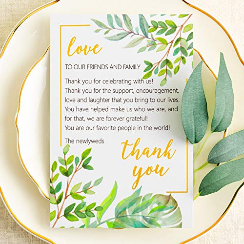 Crisky Wedding Thank You Place Setting Cards, Greenery with Foil Gold, Chic and Elegant Wedding Table Centerpieces and Wedding Decorations, Wedding Supply, 4 x 6 inch, Pack of 50