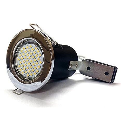 Cromo Poilished al fuego con 4 Watt GU10 LED Downlight bombilla/foco, con el ahorro de ...