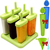 Set of 6 Reusable Popsicle Molds, YuCool BPA Free Ice Pop Maker with Sturdy Base for Kids and Adults, with Silicone Tube Molds, Collapsible Funnel and Brush – Green
