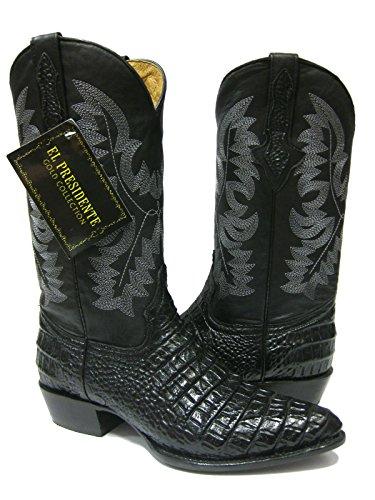 El Presidente Men's Black Crocodile Belly Design Leather Cowboy Boots J Toe 13.5 EE by El Presidente