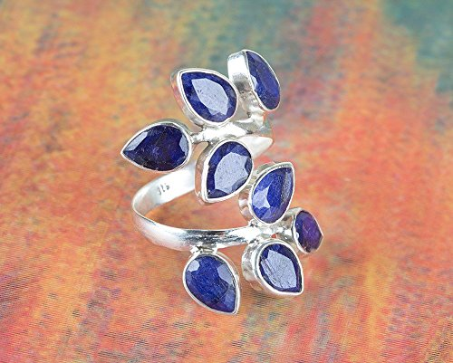 (Sapphire Ring, 925 Sterling Silver, Party Wear Ring, Cluster Ring, Leaf Shape Ring, Blue Jewelry, September Birthstone, Personalised Ring, Elegant Ring, Hypoallergenic Ring, Boho Ring,US All Size Ring)