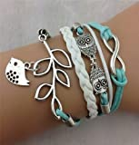 Accessories Women Best Deals - Jovana Vintage Handmade Infinity Silver 8 Owl Leaf Bird Leather Bracelet Wristband New