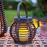 Lights4fun Round Rattan Solar Powered LED Garden Lantern