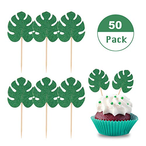 Lauren 50 Pcs Cupcake Toppers Tropical Palm Leaves Cupcake Topper Glitter Cake Picks Summer Hawaii Theme Parties Decorations (Deep Green) ()