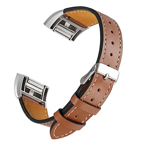 bayite Leather Bands Compatible Fitbit Charge 2, Replacement Accessories Straps Women Men, Brown