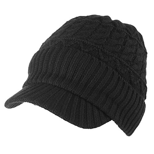 37% Wool Knit Visor Beanie Mens Winter Hat Brim Cuff Newsboy Jeep Cap Cold Weather Hat Fleece Lined Black SIGGI