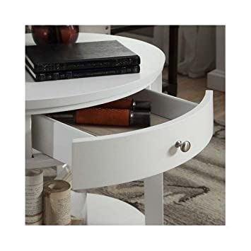 Modern 1 Drawer Oval Wood Shelf Accent End Table Color Options Includes  Scented Candle Tarts
