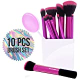 Vivace Makeup Brushes - 10 Synthetic Bristle Kabuki Cosmetic Brush Set - Professional Pink Korean Kit Great for Travel