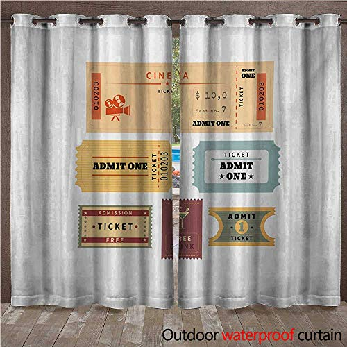 WilliamsDecor Movie Theater Outdoor Curtain for Patio Different Retro Tickets for Cinema and Other Events Vintage Illustration W108 x L84(274cm x ()