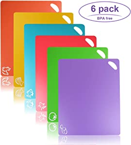 Flexible Cutting Board, Chopping Mat Color Coded With Food Icons Easy-Grip Handles Non-Slip Dotted Texture BPA-Free Food Cutting Mat Set For Kitchen Bar RV - Set Of 6