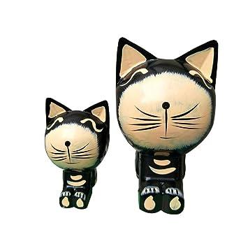 Vosarea Figura de Gato de Madera Negro para Decorativa de Escritorio y Mesa de Hotel Tienda y Hogar Comedor 2pcs: Amazon.es: Hogar